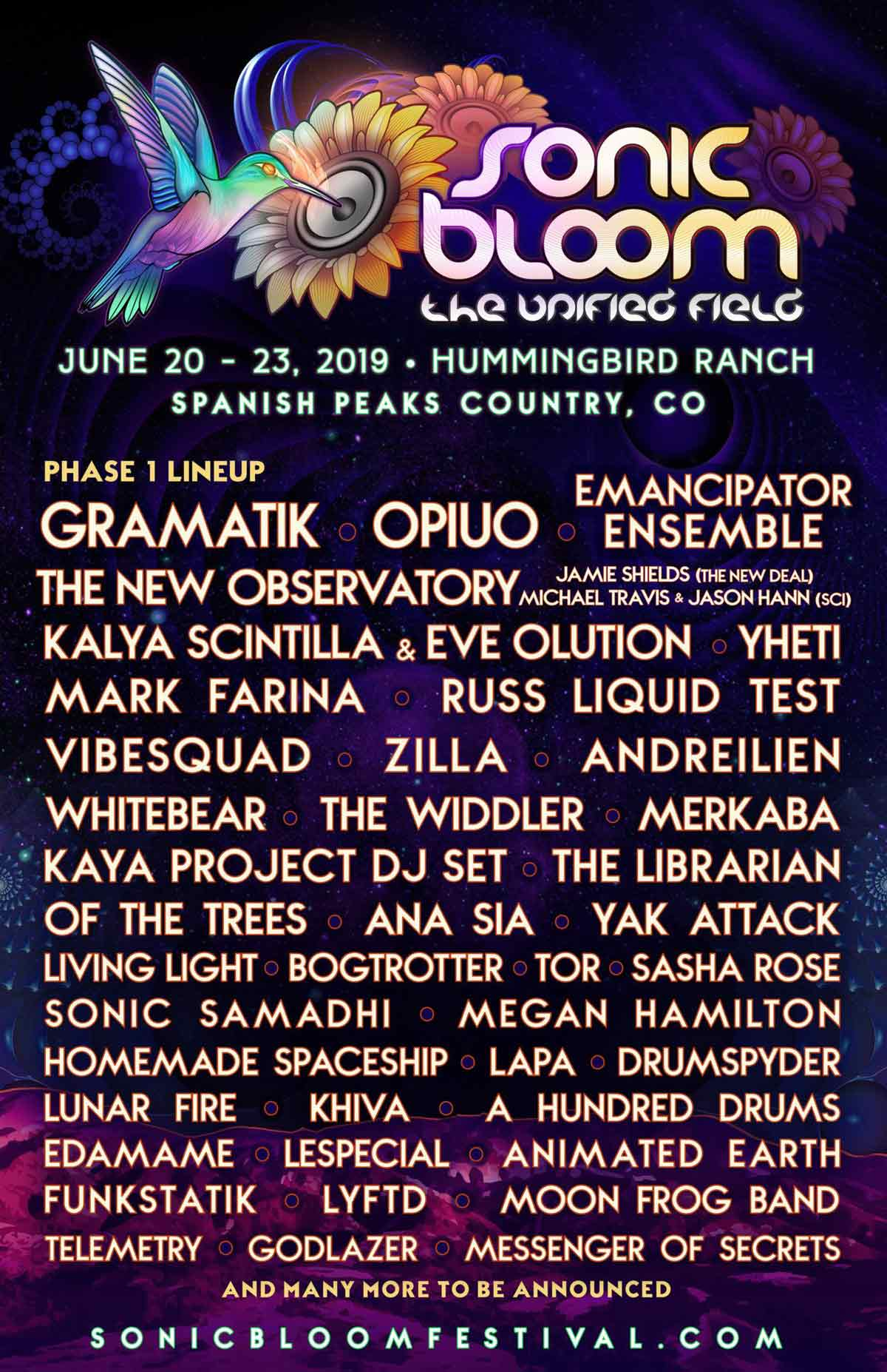 2019 sonic bloom music festival lineup