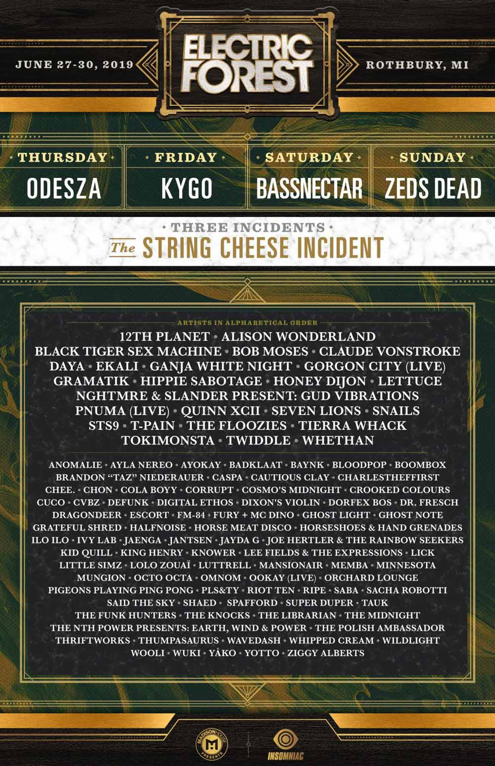 2019 electric forest lineup poster