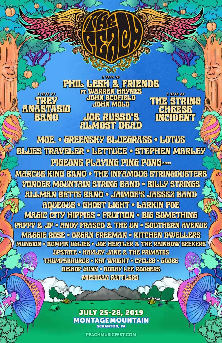 2019 peach music fest lineup poster