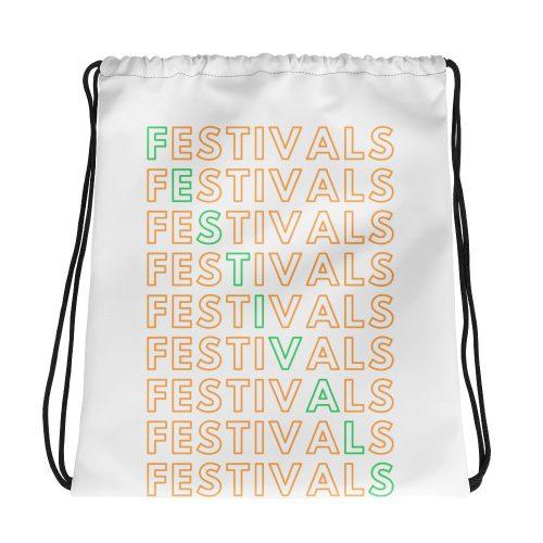 all over print drawstring bag white mockup