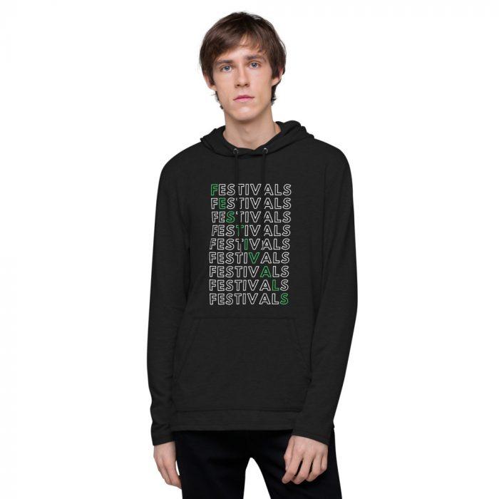 unisex lightweight hoodie black front